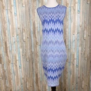 New J McLaughlin M Blue Chevron Knit Dress Sheath
